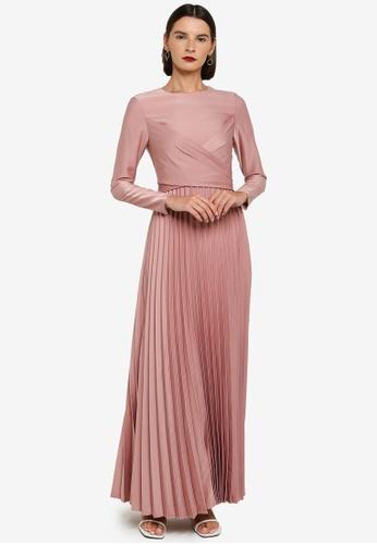 Zalia pink Drape Pleat Fit & Flare Dress B9525AAFA9A5A2GS_1