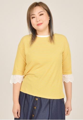Cheetah yellow Arissa Plus Size 3/4 Sleeve Top - ARS-6612 5EB96AA2AEE50EGS_1