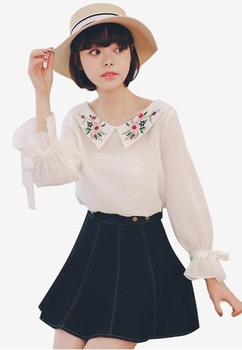 Shopsfashion white Embroidery Collar Blouse 558D0AA18AE1E7GS_1