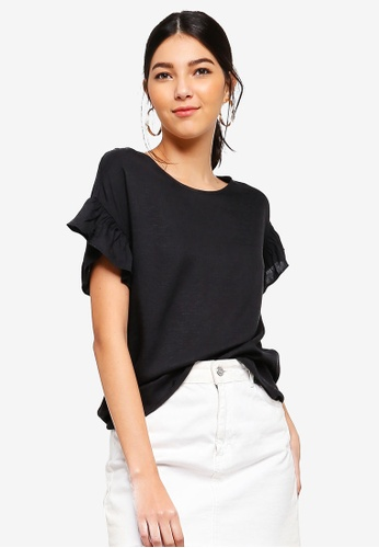 ZALORA black Ruffles Sleeves Top C3909AAFB8D171GS_1