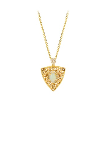 Glamorousky silver 925 Sterling Silver Plated Gold Fashion Vintage Pattern Geometric Triangle Pendant with Cubic Zirconia and Necklace 2A572AC180CB4CGS_1