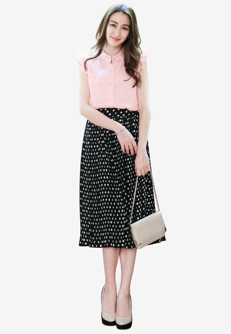 Pleated Polka Dots Skirt
