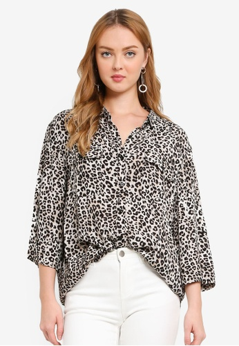 Hopeshow multi Leopard Print Capri Sleeve Button Blouse CA0ECAAA4CC083GS_1