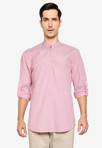ZALORA BASICS pink and multi Half Zip Stand Collar Short Sleeve Shirt CE0BEAAFA99CFCGS_1