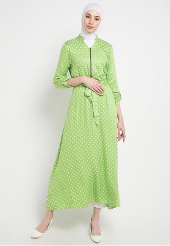 OMARA green and multi Tyra Dress 17A41AA945441DGS_1