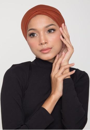 Matsalleh Design orange and brown Swimming Turban in Shimmery Burnt Orange 49609AADFF7B3AGS_1
