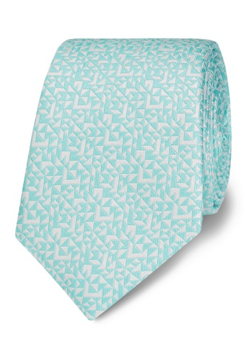 T.M. LEWIN green T.M.Lewin Mint Abstract Triangle Silk Slim Tie EBF53AC971D07CGS_1