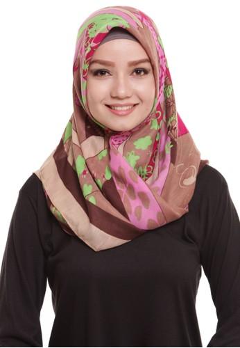 Mybamus Ethnic Square Hijab Viscose Brown - Dark Brown