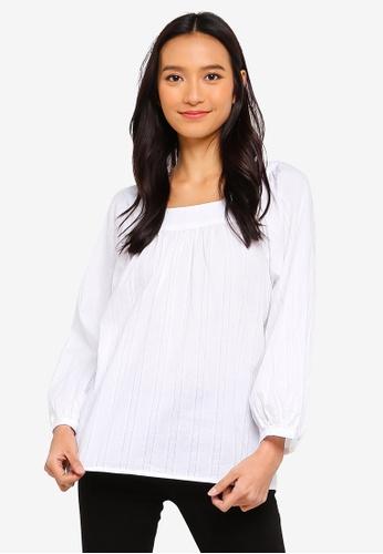 52409616e163a Buy GAP Ruffle-Neck Textured Blouse Online on ZALORA Singapore