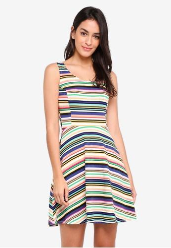 Dorothy Perkins multi Stripe Seamed Fit And Flare Dress F66DFAA9A77F92GS_1