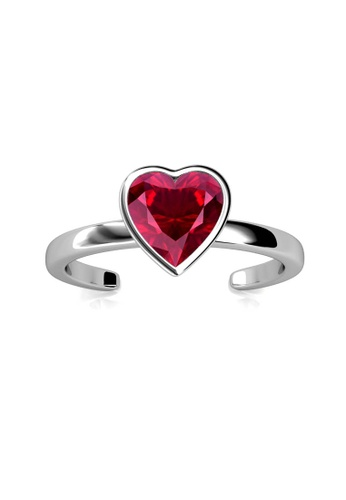 Her Jewellery silver Liebe Ring (Red) - Made with premium grade crystals from Austria DE7DFAC33AF543GS_1