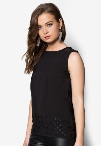 雕花無袖zalora時尚購物網評價上衣, 服飾, 上衣