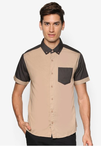 拼色短袖襯衫, 服飾esprit outlet 台中, 素色襯衫