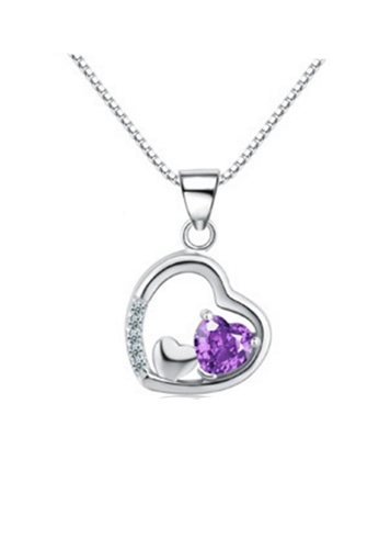 LYCKA purple and silver LPP88160 S925 Silver Necklace 4E114ACD3C2A77GS_1