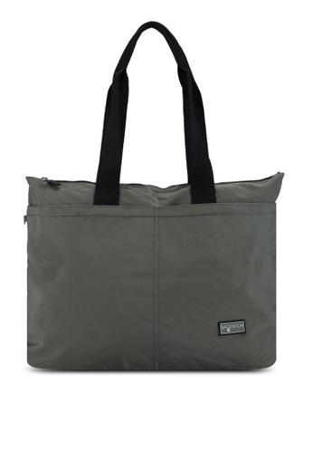 Bagstationz green Contrast Zip Nylon Tote Bag 86177AC49D4A3CGS_1