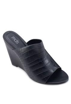 Alexa 鱷魚紋露趾楔形涼鞋