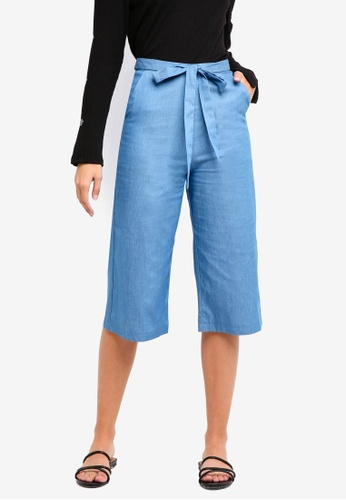 Something Borrowed blue Tie Front Culotte Pants D0BECAAC473285GS_1