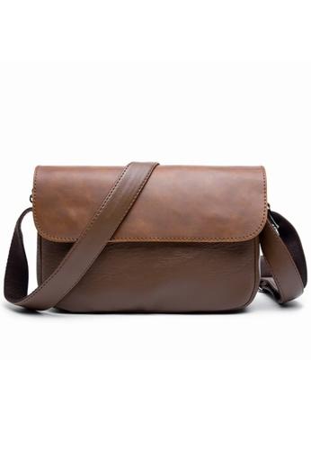 Lara brown Men Plain Flap Shoulder Bag - Khaki 9B9DEACECB1A2CGS_1
