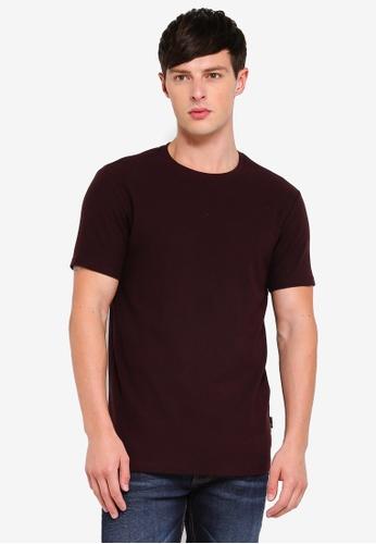 Burton Menswear London 紅色 修身紋理T恤 C8589AA557CC5AGS_1