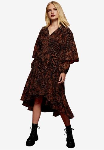 TOPSHOP multi IDOL Ruffle Patchwork Print Midi Dress 219F2AAF618190GS_1