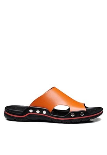 Twenty Eight Shoes orange Basic Cowhide Flip Flops VMS8286 8EB27SH60C82C2GS_1