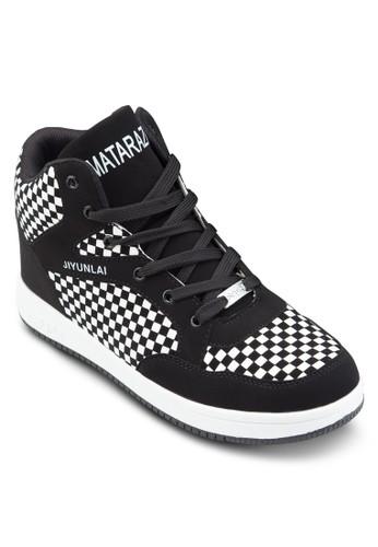 格紋拼接高筒運動esprit china鞋, 鞋, 鞋