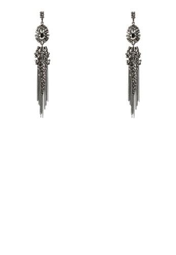 閃尖沙咀 esprit飾網眼流蘇墜飾耳環, 飾品配件, 耳釘