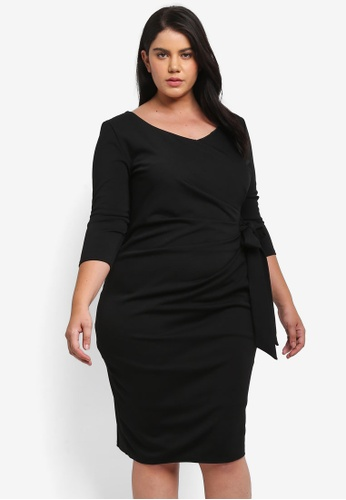 Goddiva black Plus Size Three Quarter Sleeved Midi Dress With Side Pleating Detail GO975AA0SSCRMY_1