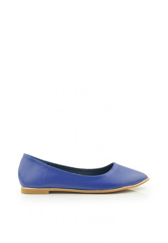 SHINE blue Point Toe Smooth leatherette Flats SH554SH0GQHASG_1