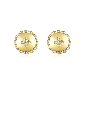 Glamorousky white Simple Fashion Plated Gold Geometric Round Cubic Zirconia Stud Earrings 76A59AC16313FCGS_1