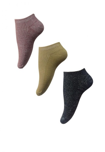 Chase Fashion multi Ribbed Glitter Ankle Socks 28249AA9486708GS_1