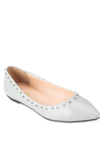 鉚釘尖頭平esprit outlet 高雄底鞋, 女鞋, 芭蕾平底鞋