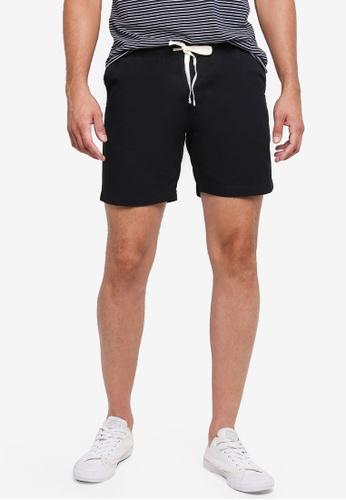 Penshoppe black Tapered Fit Drawstring Chino Shorts C224DAAE73B4EFGS_1