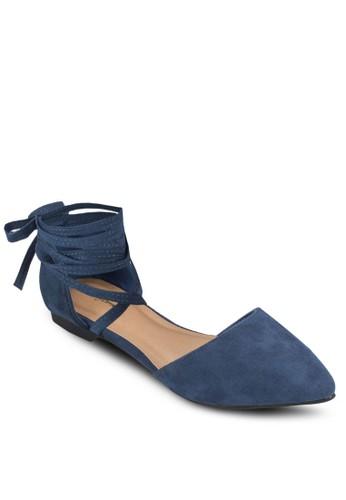 纏繞式踝帶側空平底鞋、 女鞋、 芭蕾平底鞋SomethingBorrowed纏繞式踝帶側空平底鞋最新折價