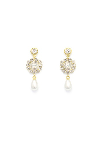 Crystal Korea Fashion white Korean Gorgeous Rhinestone Long Earrings 43879AC7AD8E03GS_1
