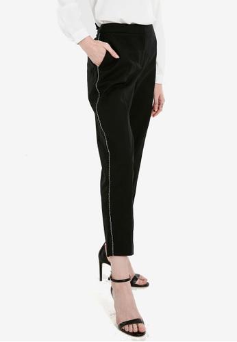 LC Waikiki black Stripe Detailed Peg Trousers C137CAAD192A5DGS_1