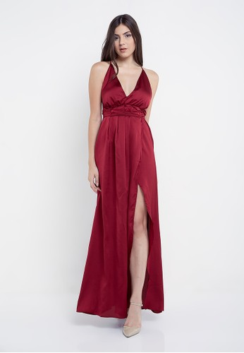 Bridesy red and multi and n/a Wrap High Slit Long Sexy Dress Maroon 6D43DAACB2D349GS_1