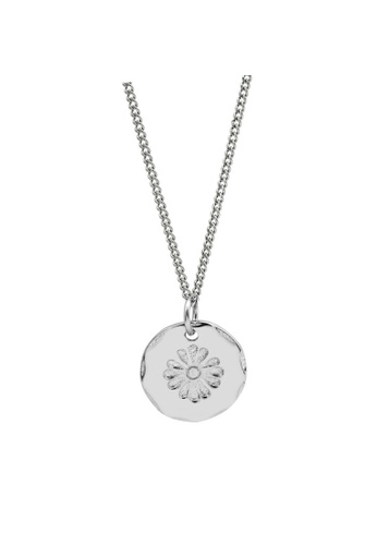 LYCKA silver LDR1228 S925 Silver Daisy Plate Necklace C5516ACE392F35GS_1