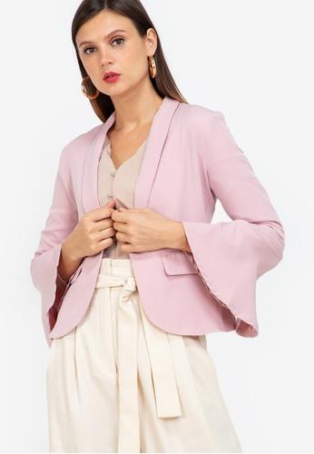 ZALORA WORK pink Flounce Sleeves Blazer A2C0AAA0F7BA11GS_1