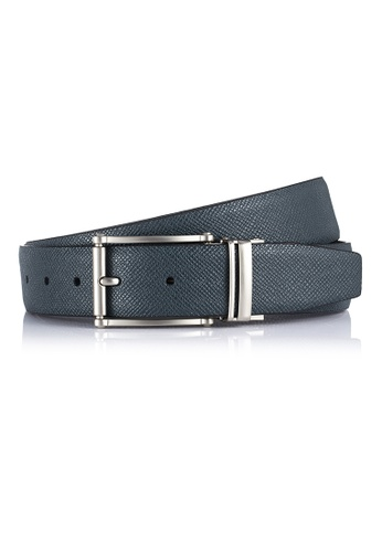 e28c2f569b Deluxe Navy Saffiano Leather Belt with Charcoal Grey Pin Buckle  (BT-1906-SSJN)