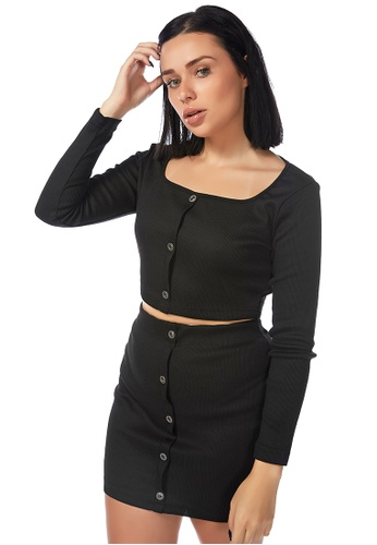 London Rag black Smart Play Black Crop Suit Top A2232AA65ADAE0GS_1