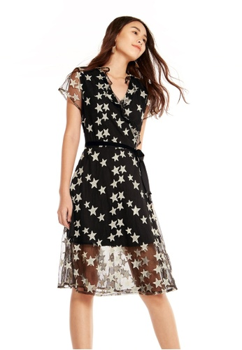 Pomelo black Miki Star Wrap Dress BDA63AA91C3F7DGS_1