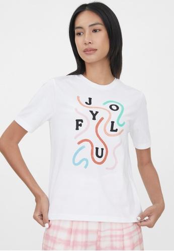 Pomelo white Sustainable Cotton Joyful Graphic Tee - White 0570FAA1E946ADGS_1