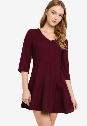 ZALORA WORK purple V-Neck 3/4 Sleeve Dress A90A9AAB0D59CFGS_1