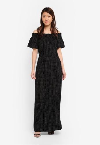 Dorothy Perkins 黑色 Mono Bardot Maxi Dress 6E266AA270686EGS_1