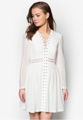 Gigi 繫帶V京站 esprit 領長袖洋裝, 服飾, 派對洋裝