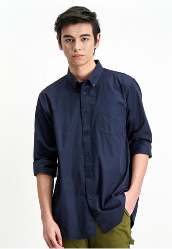 BENCH blue Button Down Long Sleeve Shirt 9BDC5AAA52AE42GS_1