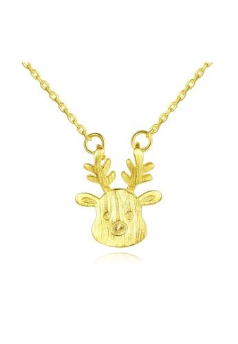 SUNRAIS gold High quality Silver S925 golden deer necklace 89E9FAC398A50CGS_1