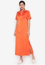 the___edit orange Daria Cuban Collar Maxi Dress 2A2EFAA9EAA822GS_1
