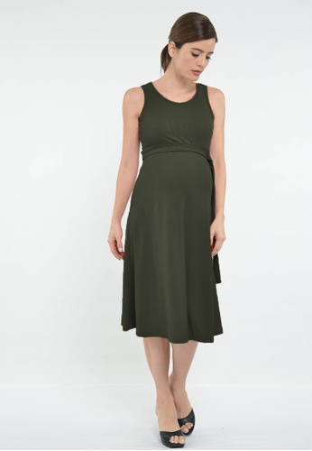 9months Maternity green Green Belted Maternity Midi Dress A301CAAF2AF4E3GS_1